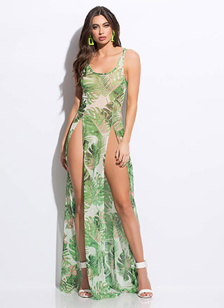 Hot Tropic Double Slit Mesh Maxi Dress
