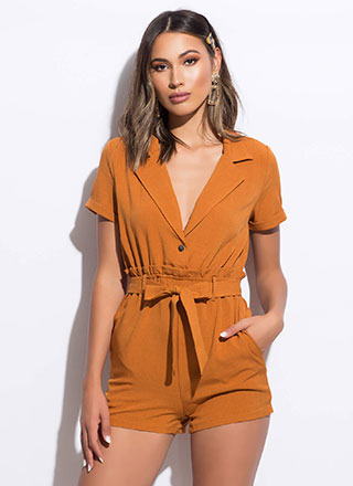 Set Me Up Paper-Bag Waist Romper