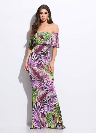 Tropical Foliage Off-Shoulder Maxi Dress