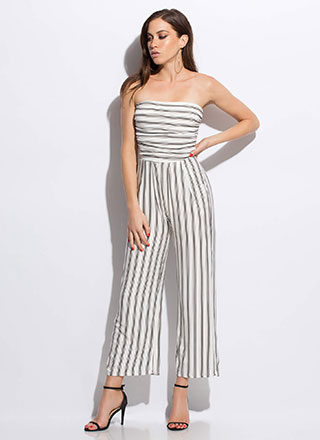 Vacay Ready Strapless Striped Jumpsuit