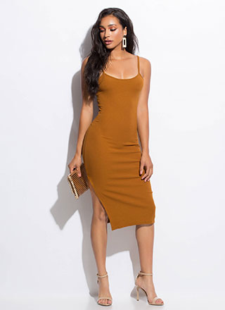 Take Me Anywhere Slit Midi Dress