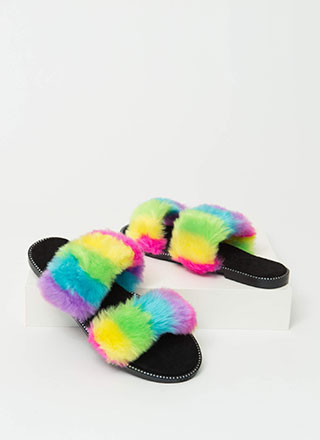 Rainbow Bright Faux Fur Slide Sandals