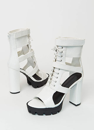Cold Blood Faux Crocodile Caged Booties