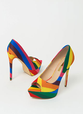 Make My Point Peep-Toe Rainbow Pumps