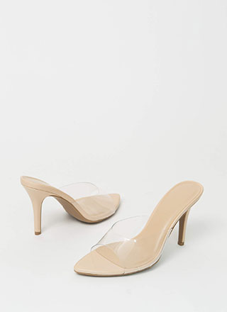 Step Into My Office Clear Mule Heels