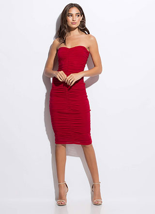 Shirr Thing Strapless Ruched Midi Dress