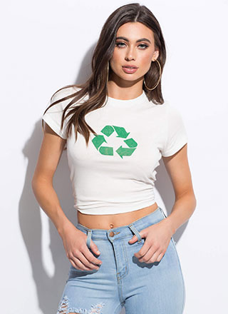 Go Green Recycle Symbol Graphic Tee