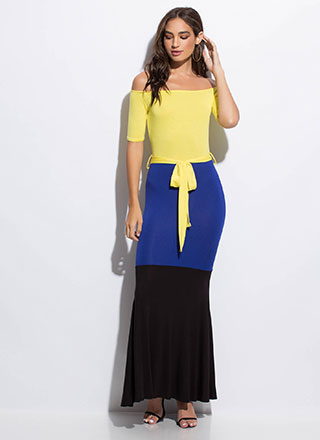 1-2-3 Off-Shoulder Colorblock Maxi Dress