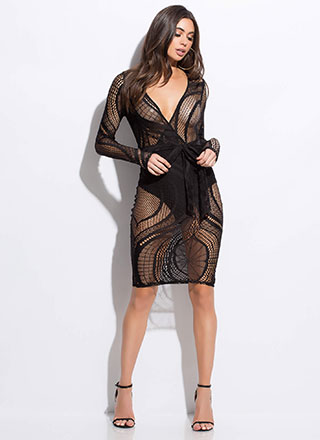 Net Speak Sheer Tied Midi Dress