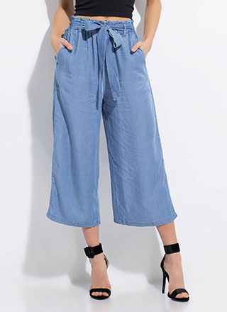 Denim Do Wide Cropped Chambray Pants