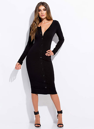 Button Me Up Rib Knit Midi Dress