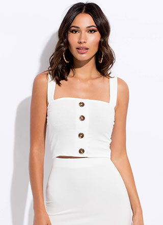 It's Easy Cropped Button-Front Tank Top