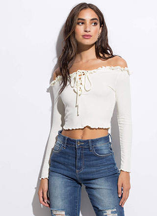 Really Frilly Laced Off-Shoulder Top