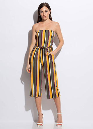 Chic Stripes Strapless Cropped Jumpsuit
