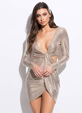 Time To Shine Cut-Out Draped Minidress