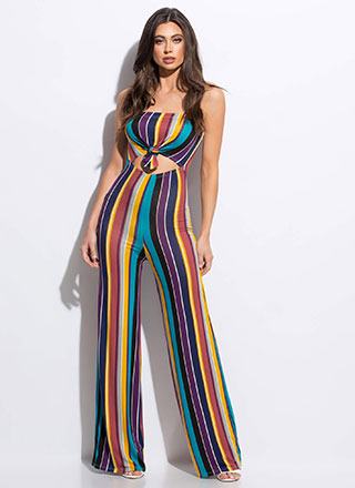 Knot Just Any Striped Strapless Jumpsuit