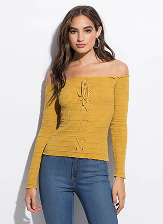 Detail-Oriented Laced Off-Shoulder Top