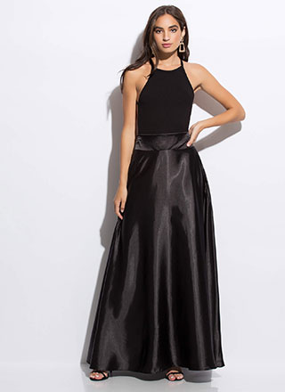Swept Away Flared Satin Maxi Skirt