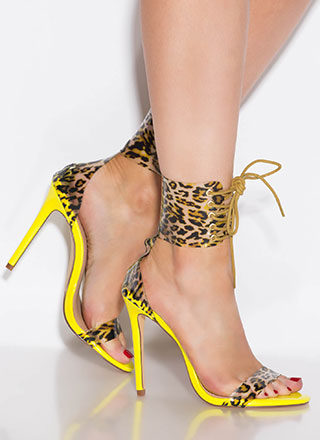 Leopard Look Lace-Up Ankle Cuff Heels