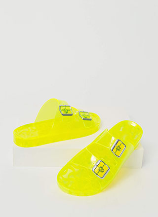 Play Time Buckled Jelly Slide Sandals