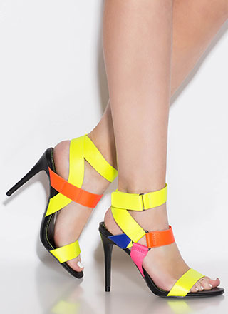 Big Band Strappy Multi-Colored Heels