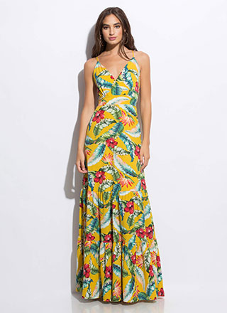 Hibiscus Honey Tiered Tropical Maxi
