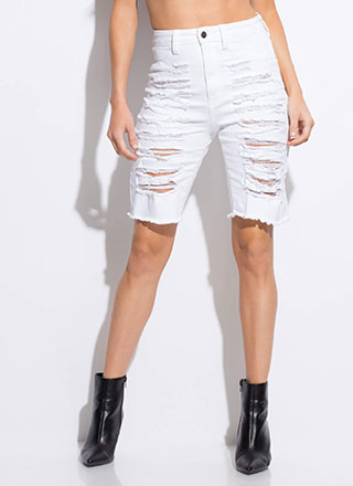 Totally Destroyed Denim Bermuda Shorts