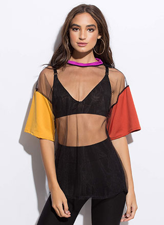 Colorblock Party Sheer Mesh Tee