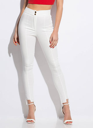 Uneven The Score Raw-Cut Skinny Pants