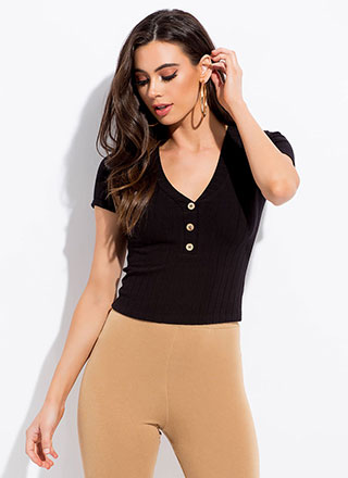 Get Going Ribbed Button-Front Top