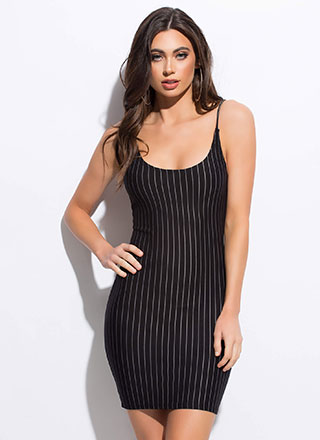 Along Those Lines Pinstriped Minidress