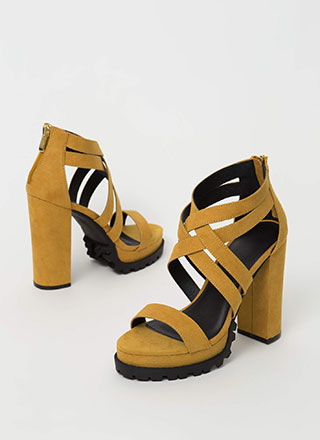The Edge Strappy Lug Sole Platform Heels
