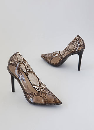 Clear And Pointy Danger Snake Pumps