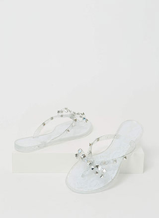 Bow-tiful Lace Studded Jelly Sandals