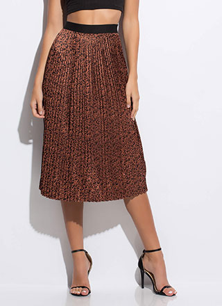 Lady In The Wild Pleated Leopard Skirt