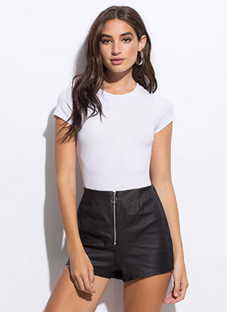Make It Moto Coated Zip-Front Shorts