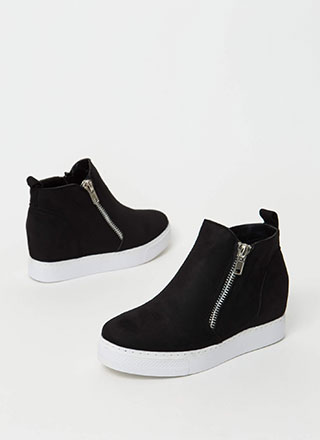 High School Faux Suede Wedge Sneakers