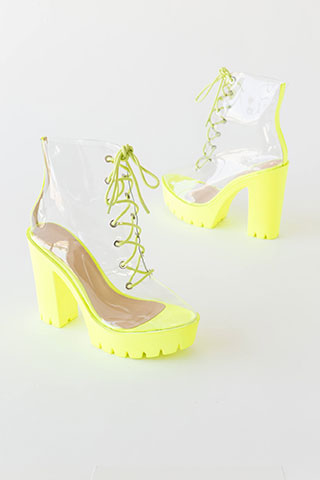 See Thru You Lace-Up Clear PVC Booties