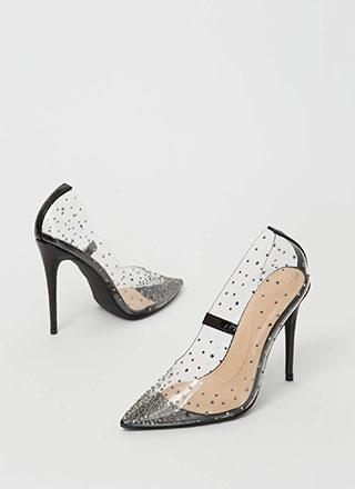 Clearly Sparkly Jeweled PVC Pumps