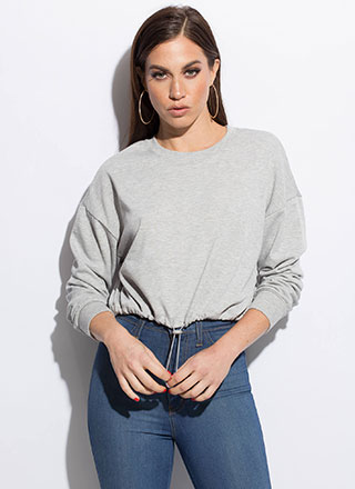 Day Off Cropped Drawstring Sweatshirt