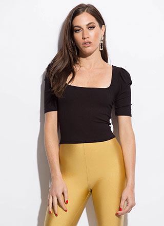 We're Square Puffy Sleeve Crop Top