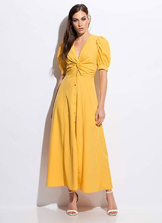 Twist Ending Button-Down Maxi Dress