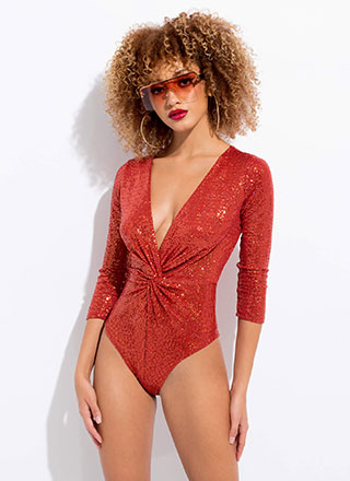 Disco With A Twist Sequined Bodysuit