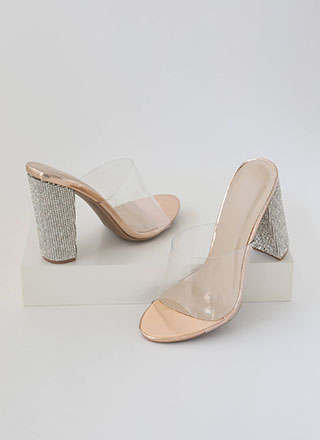 Sparkle Clear Faux Leather Mule Heels