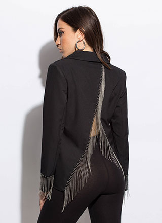 So On Edge Chain Fringe Blazer
