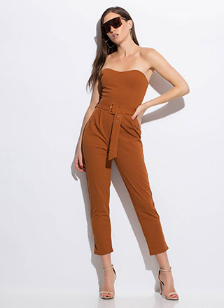 No Sweetheart Belted Strapless Jumpsuit
