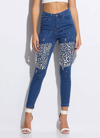 Clear As Crystal Jeweled Skinny Jeans