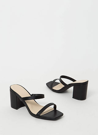 Keep Me Strappy Faux Leather Block Heels