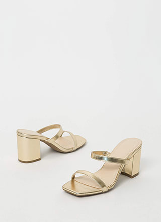Keep Me Strappy Metallic Block Heels