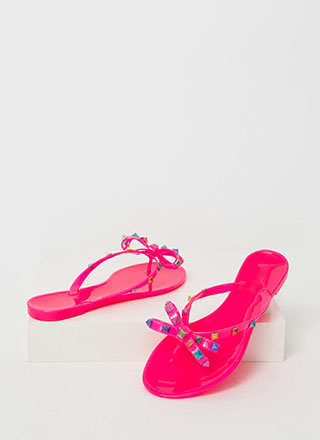 Bow Jane Studded Jelly Thong Sandals